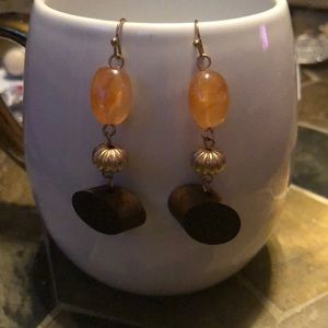 Gold metal dangle earrings